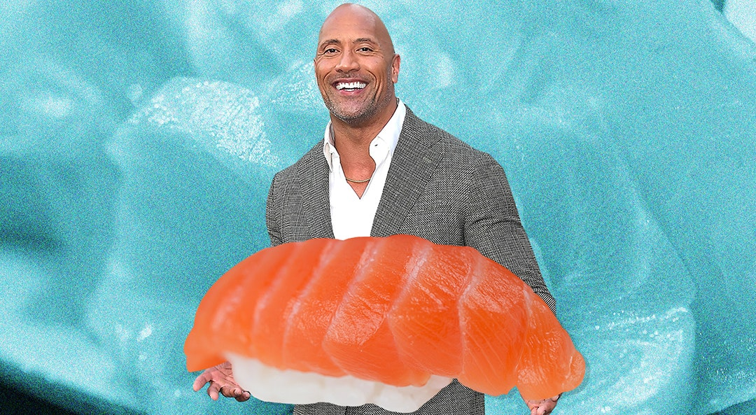 The Rock holding nigiri sushi category