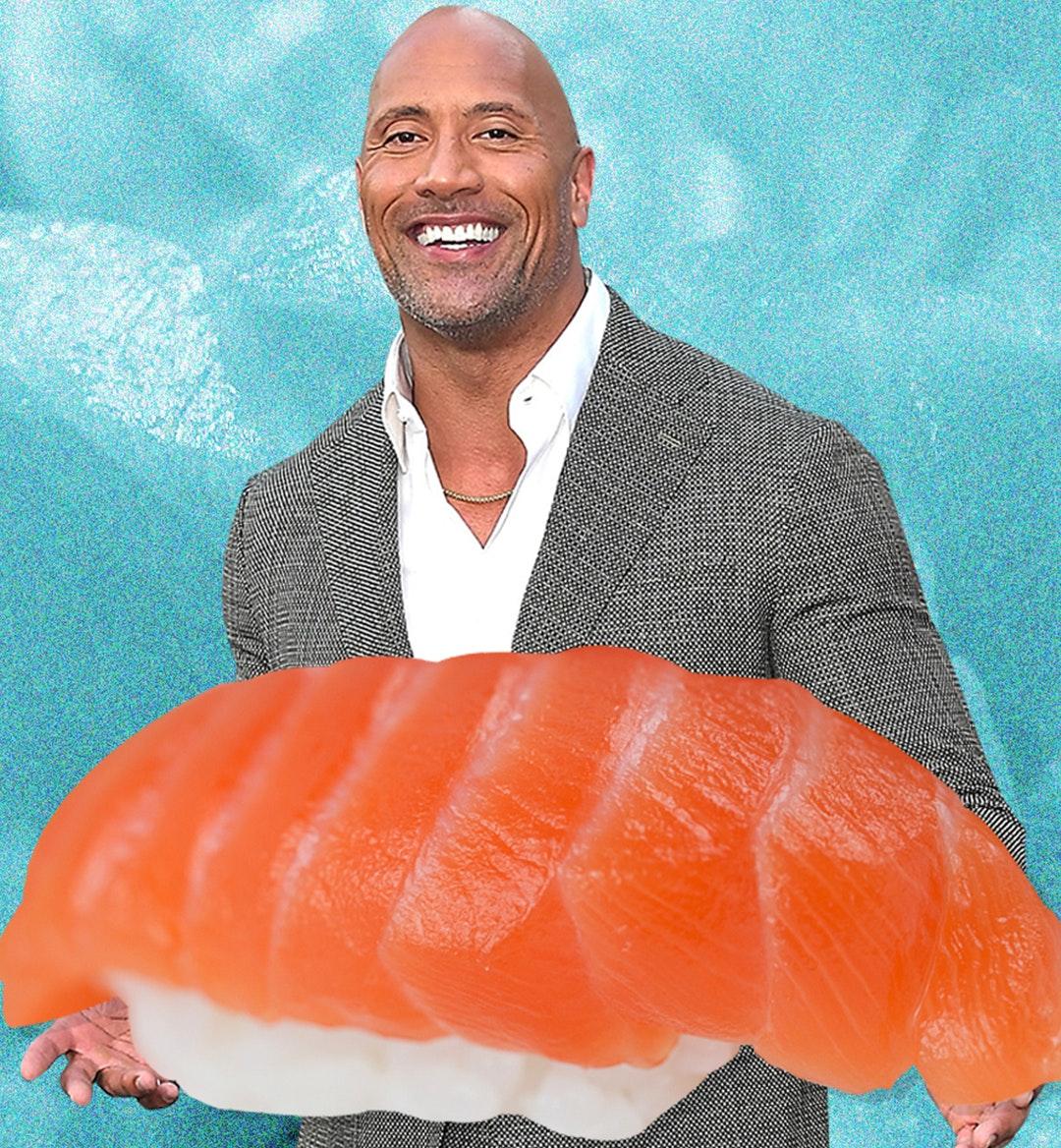 The Rock holding nigiri sushi mobile