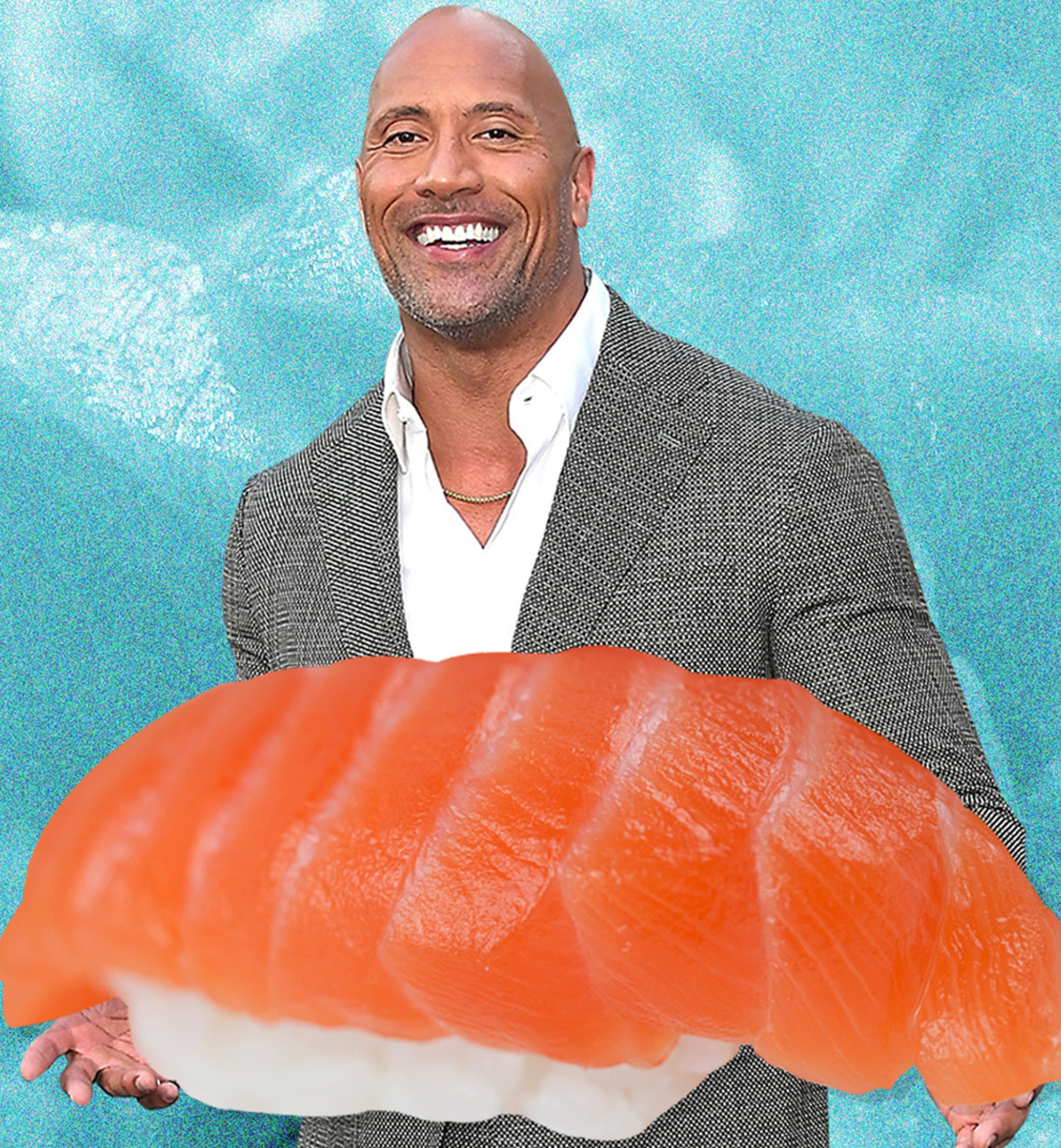 The Rock holding nigiri sushi mobile