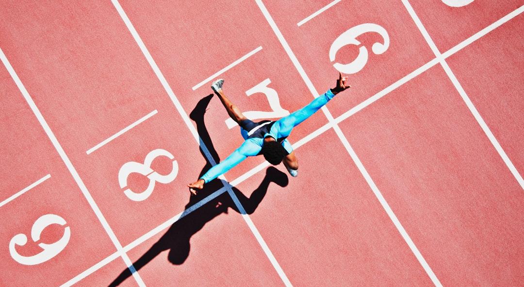 man running track cat