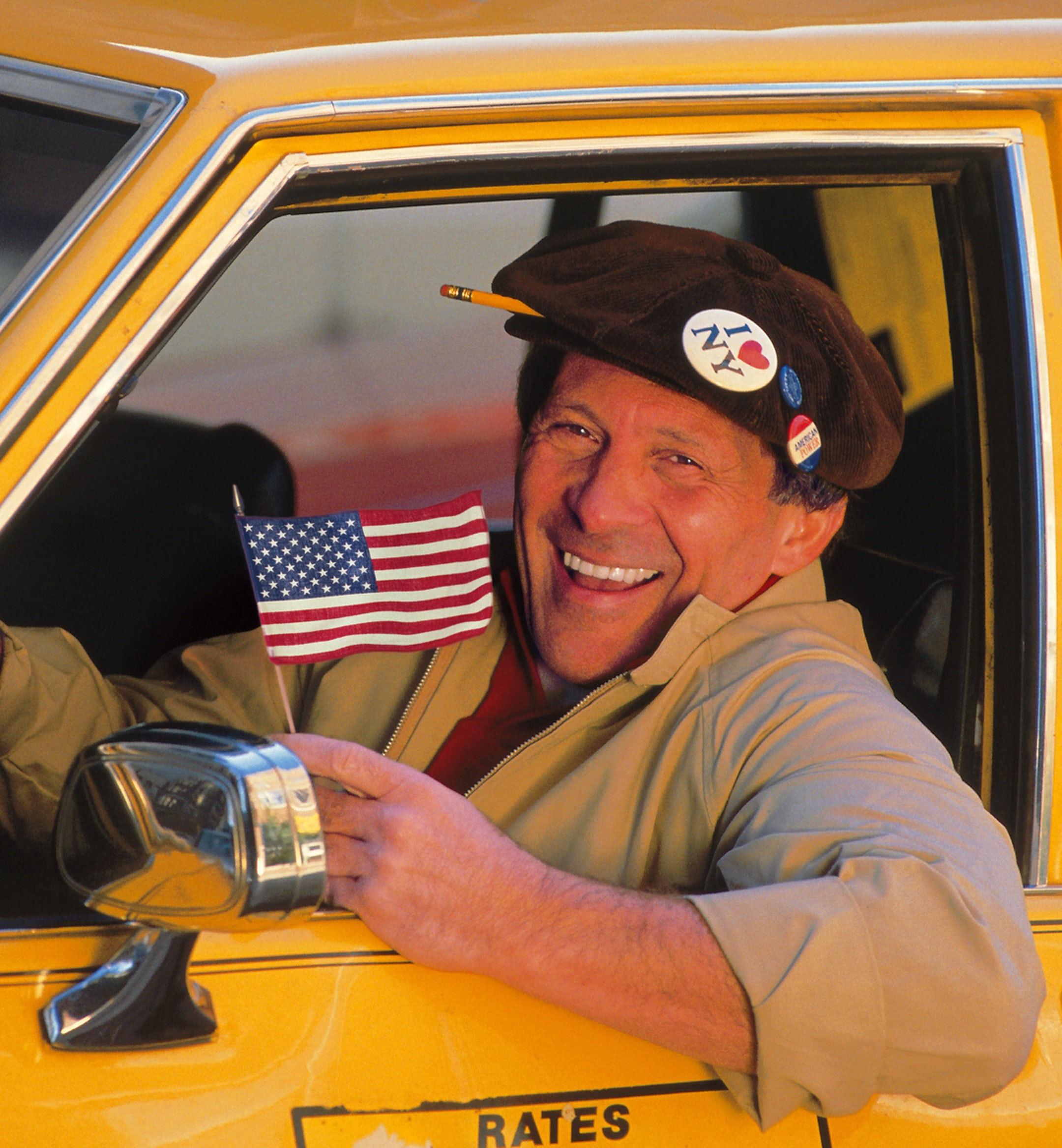 taxi man american flag mobile