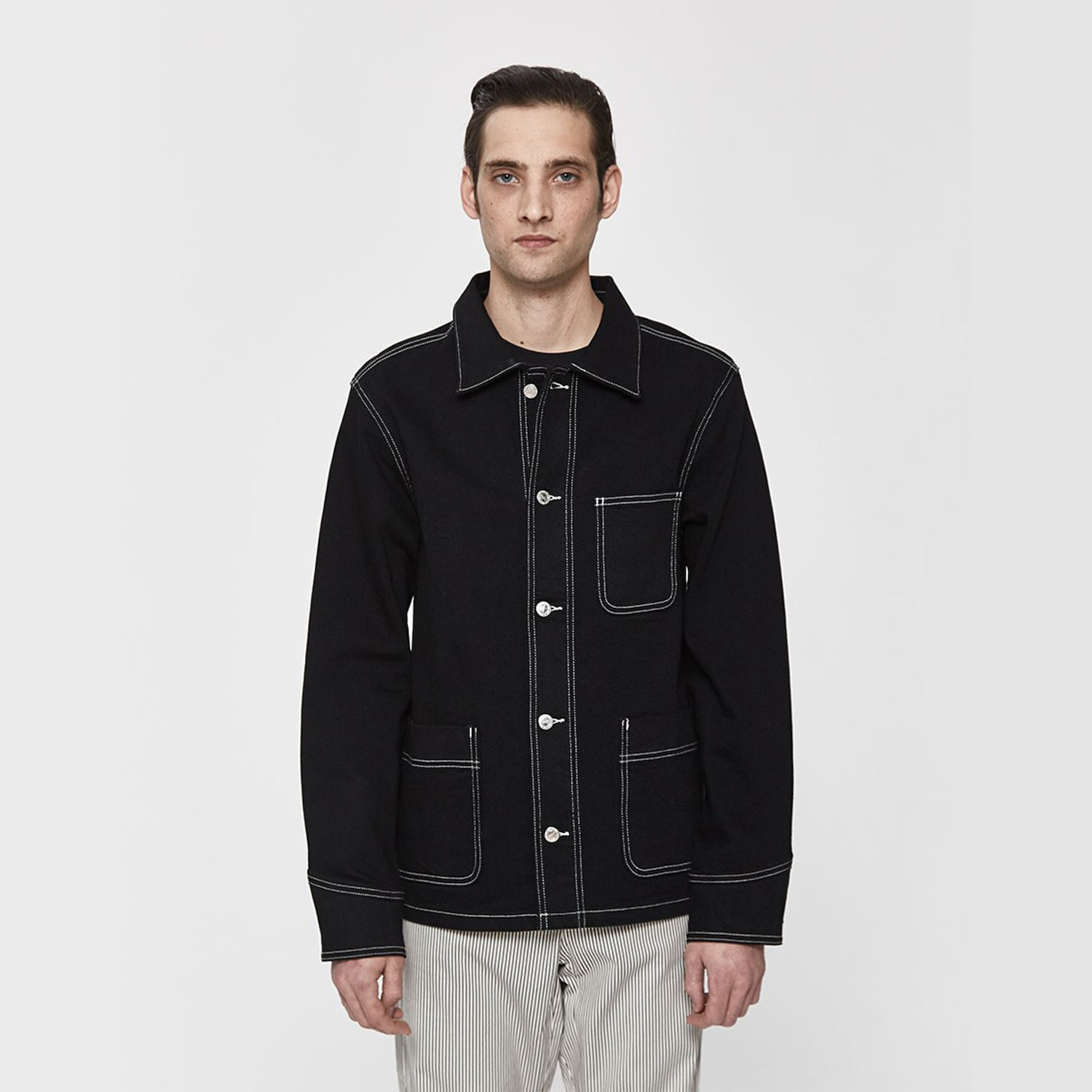 black stitched jacket