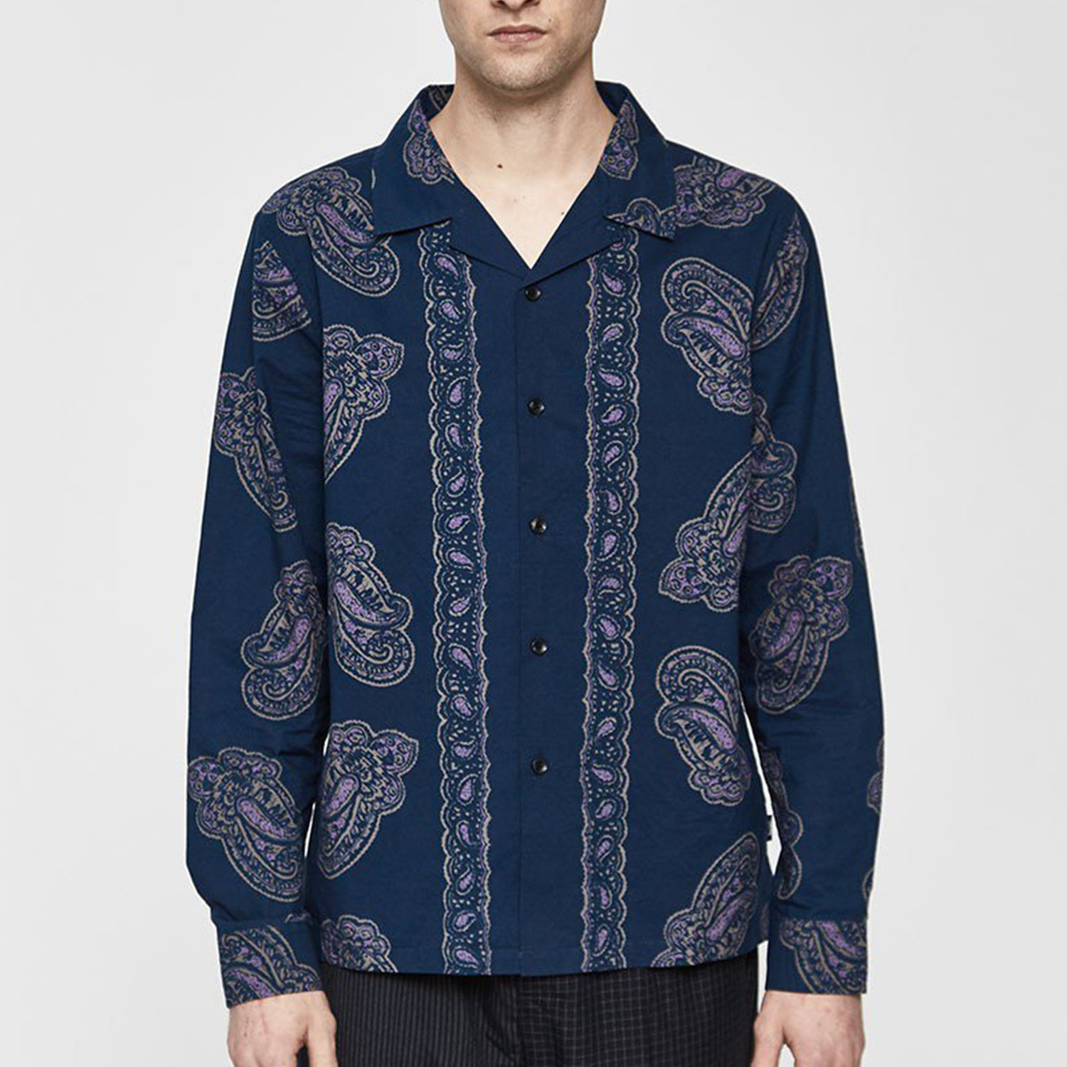 paisley blue button up