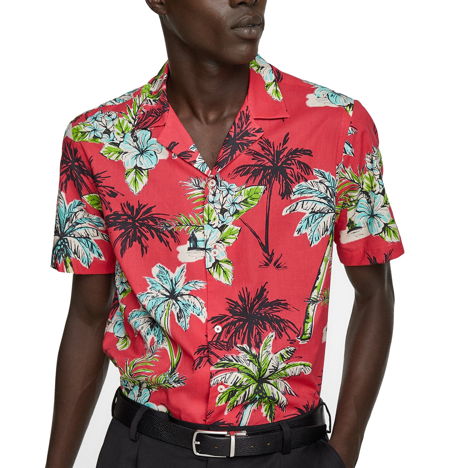 hawaiian shirt zara red