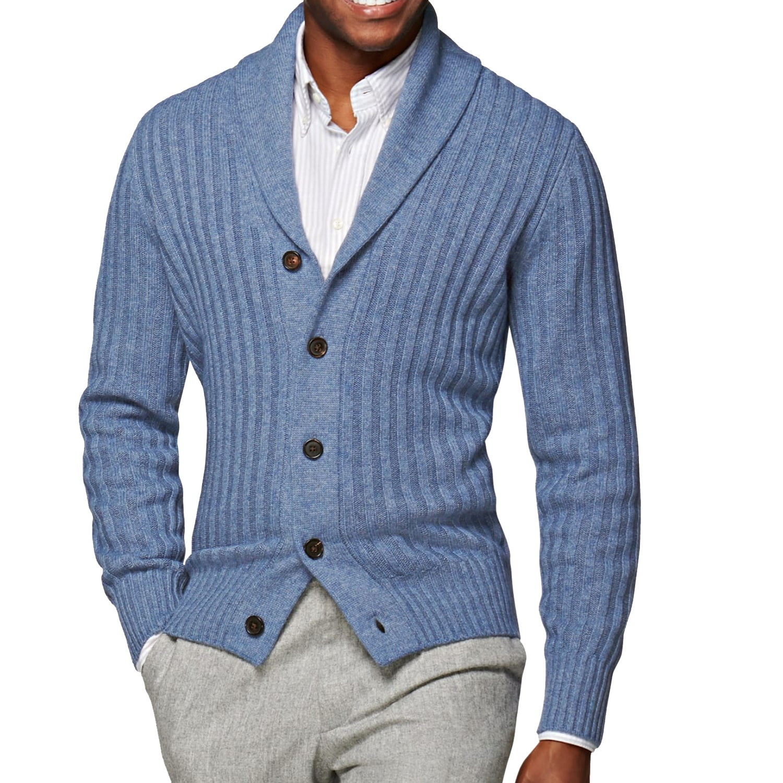smart casual for men cardigan blue